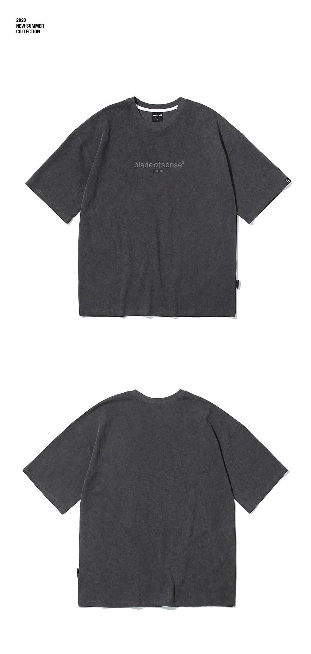 피그먼트 서울자수 티셔츠-차콜